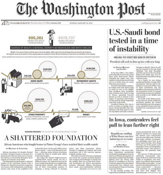 Front page of The Washington Post, January 25, 2015. (http://newseum.org).