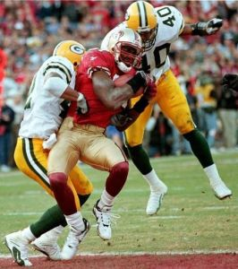Terrell Owens hauls in 'The Catch II' from 49ers QB Steve Young, Candlestick Park, San Francisco, CA, January 3, 1999. (Getty files via Toronto Sun, January 10, 2013).