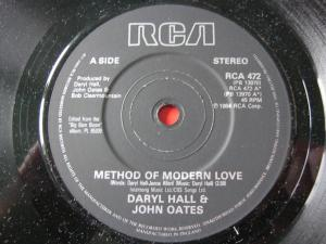"Darryl Hall & John Oates, ""Method of Modern Love"" 45, circa 1984-85, February 11, 2015. (http://www.thespacebar.co.uk/)."