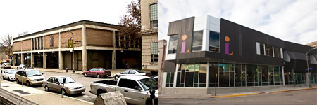 East Library branch of Carnegie Library of Pittsburgh, before (the version I worked in) and after renovation, October 4, 2006 and September 25, 2011. (http://popcitymedia.com and http://eastliberty.org).