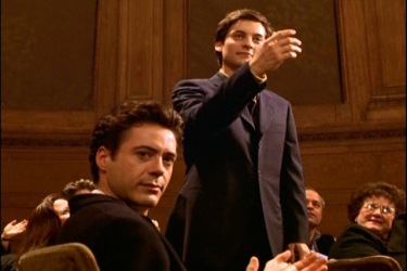 """Take a bow, James"" screen shot from Wonder Boys (2000), starring Michael Douglas, Tobey Maguire, Katie Holmes, and Robert Downey, Jr., September 29, 2009. (http://rosekohl.tumblr.com/)."