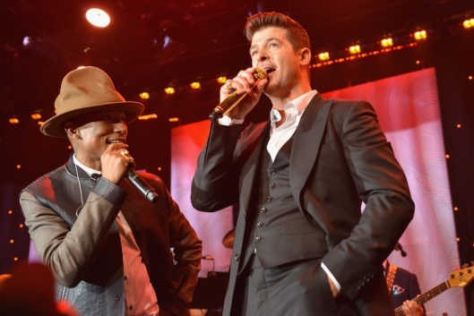 Pharrell Williams and Robin Thicke at the 56th Annual GRAMMY Awards, Beverly Hills, CA, January 25, 2014. (Larry Busacca/Getty Images, via http://images.musictimes.com/). Qualifies as fair use under copyright laws, via Getty Images agreement with CC-SA-3.0.