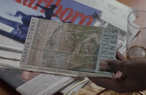 Screen shot of fictional character Harper Stewart's bestselling novel nfinished Business, from The Best Man (1999), March 14, 2015. (hitchdied via http://s785.photobucket.com/).
