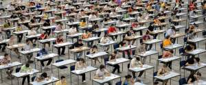 Mass of students taking high-stakes test, September 4, 2014. (http://newrepublic.com via Shutterstock).