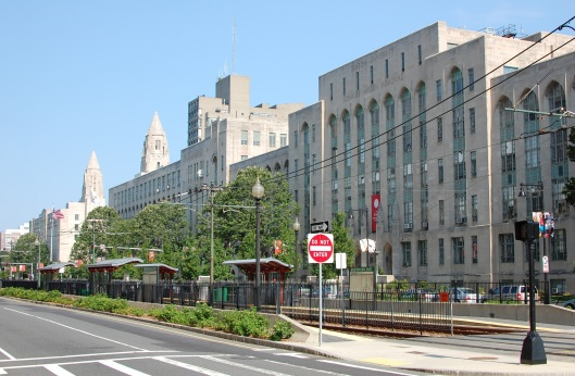 The main classroom buildings for the College of Arts and Sciences at Boston University, with the BU East 'T' stop in the foreground, July 18, 2010. (Fletcher6 via Wikipedia). Released to the public domain via CC-SA-3.0.