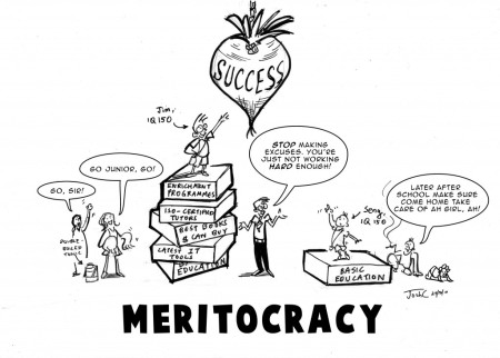 Meritocracy cartoon, October 29, 2010 (Josh C. Lyman via http://www.clibsy.com/).