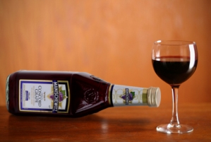 Manischewitz wine, in bottle and a wine glass, September 11, 2012. (http://tabletmag.com/).