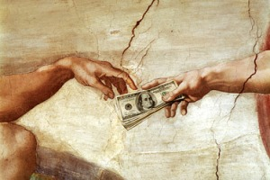 Michaelangelo's The Creation of Adam via Sistine Chapel ceiling paintings (1508-1512), with America's Prosperity Gospel stuck in between, September, 2009. (http://www.thegospelcoalition.org/).