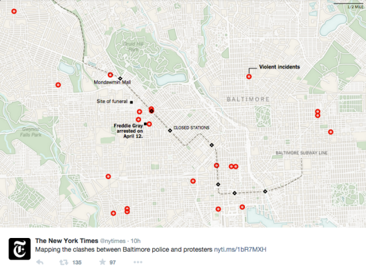 Screen shot of map of violent incidents in Baltimore near site of Freddie Gray protests on Monday, April 28, 2015. (http://nytimes.com via Twitter).