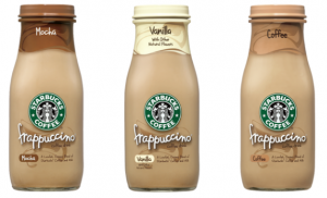 Starbucks bottled Frappuccinos, three flavors, April 22, 2015. (http://queenbeecoupons.com/).