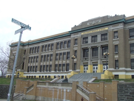 A.B. Davis Middle School, Mount Vernon, NY, November 21, 2006. (Donald Earl Collins). Built in 19226, it used to be Mount Vernon High School before Black migration, the Brown decision and ending some discriminatory ability grouping practices forced the school board to build a new high school after 1954.