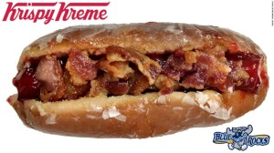 Krispy Kreme Hot Dogs at minor-league Wilmington (DE) Blue Rocks (consisting of glazed raspberry jelly donut, with hot dog, bacon and onions in between), April 16, 2015. (http://www.cnn.com/2014/11/18/living/gallery/hybrid-food-mashups/).