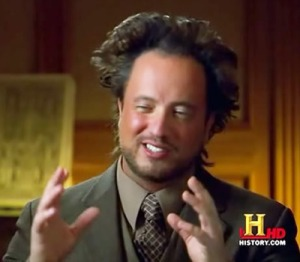 Giorgio A. Tsoukalos, regular snake-oil salesman on H2, History regarding Ancient Aliens, June 6, 2015. (tumblr.com).