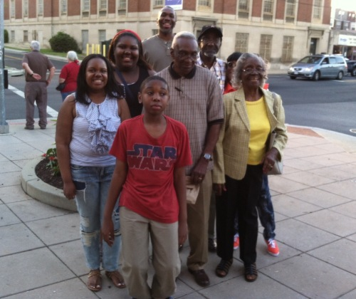 Extended Collins family photo (top row down, l-to-r: me,  Jasmine, Uncle Felton, Falon, my dad, Aunt Christene, my son Noah), West Hyattsville, MD, May 8, 2015. (Donald Earl Collins).