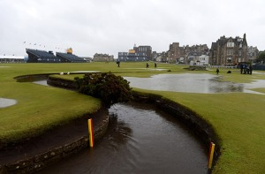 The loop water near the 1st green at St. Andrews' Old Course, (where Tiger put his second shot of his 1st round), Scotland, UK, July 16, 2015. (http://golfdigest.com).