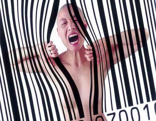 Asian woman in nude breaking through a barcode, September 2010. (unknown author/woman, http://www.willeyelisten.com).