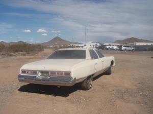 A beat-up version of the 1975 Chevy Impala my uncle Mckinley bought in August 1975, August 15, 2015. (http://www.dvap.com).
