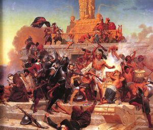 Storming of the Teocalli by Hernán Cortez and His Troops (1848), painting by Emanuel Leutze, January 11, 2012. (Penelope37 via Wikipedia). In public domain.