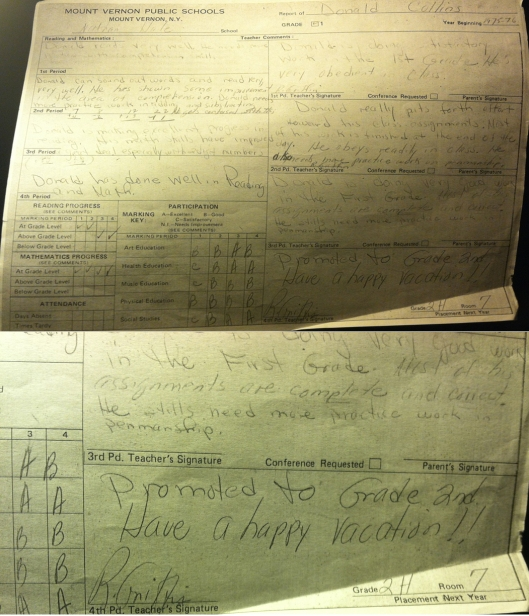 My report card from 1st grade, Nathan Hale ES, 1975-76, and close-up of Ms. Griffin's signature, September 22, 2015. (Donald Earl Collins).