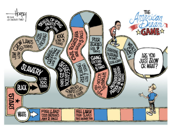 The American Dream Game cartoon, January 21, 2014. (David Horsey/LA Times).