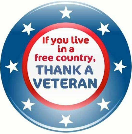 """If you live in a free country, thank a veteran"" poster slogan, November 10, 2015. (http://facebook.com)."