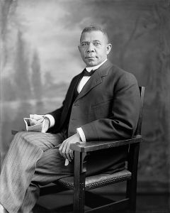 Harris & Ewing photo of Booker T. Washington, circa 1905-1915, Library of Congress, Washington, DC, January 18, 2010. (Cantheasswonder via Wikipedia). In public domain.