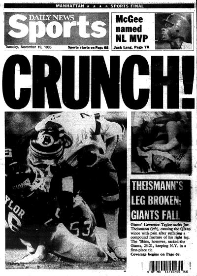 Back cover of New York Daily News, November 19, 1985. (http://nydailynews.com/).