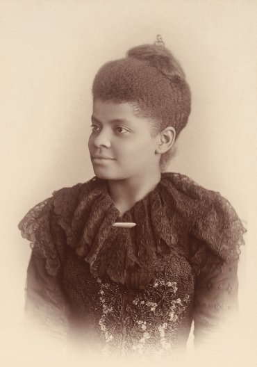 Ida B. Wells-Barnett, age 32, photographed by Mary Garrity, c. 1893, cropped and restored, September 8, 2013. (Adam Cuerden via Wikipedia). In public domain.