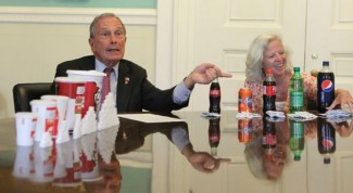 Then-Mayor Michael Bloomberg attempting to sell soda size ban to New Yorkers, May 30, 2012. (http://adweek.com).
