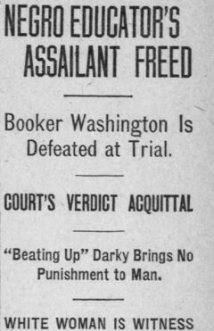 Morning Oregon headline on Booker T. Washington trial, November 7, 1911.
