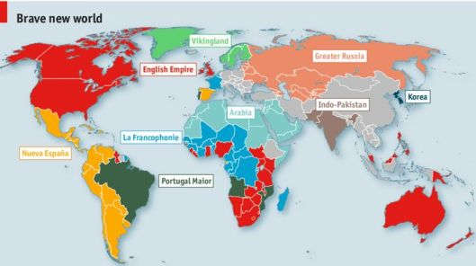 """Linguistic Imperialism"" - what the world might look like if borders were based upon the 10 major languages, May 10, 2014. (The Economist via http://pinterest.com )."
