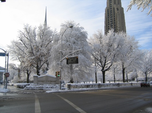 University of Pittsburgh after a snow storm, Cathedral of Learning, downloaded January 5, 2016. (http://www.everystockphoto.com).