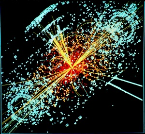 An example of simulated data modeled for the CMS particle detector on the Large Hadron Collider (LHC) at CERN. (where collision of two protons would produce a Higgs boson particle and release energy, in blue), October 1997. (Lucas Taylor/CERN via Wikipedia). Released to public domain via CC-SA-3.0.