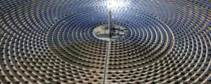 Gemasolar Thermosolar Plant (solar power concentration, converting solar energy to thermal turbine power generation), Fuentes de Andalucía, Seville province, Spain, June 22, 2014. (Wikipedia via http://vice.com).