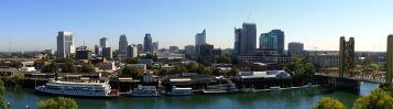 The Sacramento skyline, as seen from The Ziggurat in West Sacramento, California (never looked like this in my 3 visits there), October 16, 2008. (J. Smith via Wikipedia). Released via CC-SA-3.0.