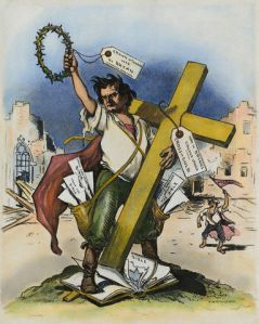 """Grant Hamilton cartoon for Judge Magazine on William Jennings Bryan's """"Cross of Gold"""" speech, Democratic National Convention, Chicago, July 9, 1896. (Wikipedia). In public domain."""