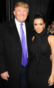 Donald Trump posing with Kim Kardashian at Celebrity Apprentice event, New York, 2010. (Mathew Imaging/WireImage via http://eonline.com).