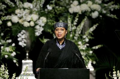 Ambassador Attallach Shabazz (eldest daughter of Malcolm X) speaking at Muhammad Ali's public funeral, KFC Yum! Center, Louisville, KY, June 10, 2016. (http://www.odt.co.nz/).