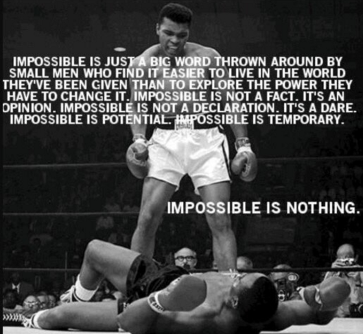 "Meme of Muhammad Ali quote on ""impossible"" combined with iconic photo of Ali in 1st Round of first fight with Sonny Liston, February 25, 1964. (Getty Images via Twitter)."