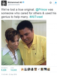 Muhammad Ali tweet re: Prince's death (pic is from their first meeting in 1997), April 22, 2016. (Twitter).