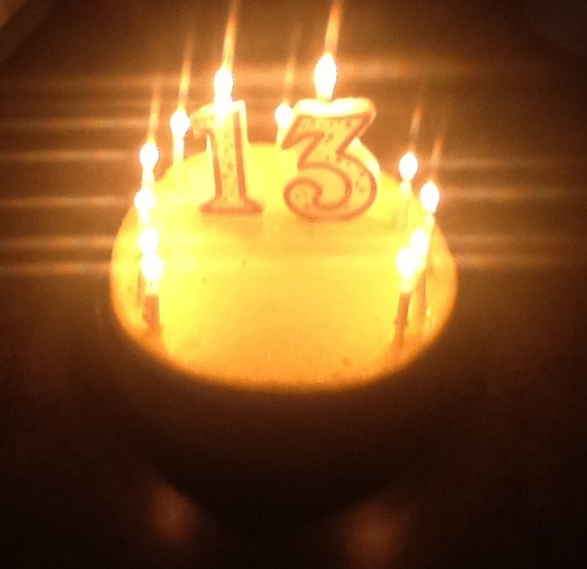 Noah's birthday cake, Cheesecake Factory Original Cheesecake, adorned with candles, July 30, 2016. (Donald Earl Collins).