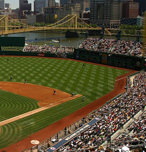 Crop of PNC Park (as metaphor for the political state of the US), Pittsburgh, PA, July 20 2005 (alpineinc via Wikipedia/Flickr). Released to public domain via CC-SA-3.0.