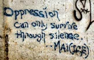 Oppression graffiti, January 15, 2013. (Students for Liberty via http://genderlitutopiadystopia.wikia.com).