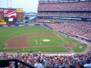 Shea Stadium, second level, behind visitors dugout, Flushing Meadow, Queens, NY, 2008. (http://www.bloggingmets.com/)