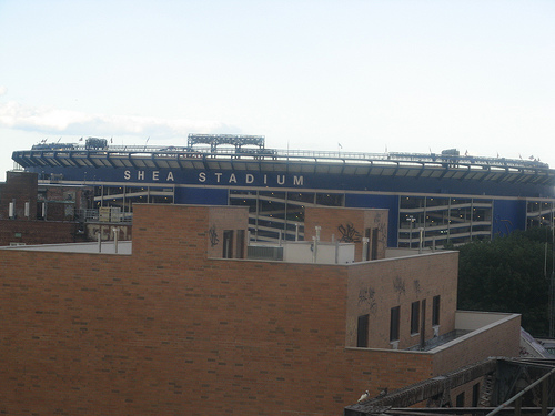 Shea Stadium (taken from 7 Subway), Flushing Meadows, Queens, NY, September 10, 2008. (Gary Dunaier via http://farm4.static.flickr.com/). In public domain.