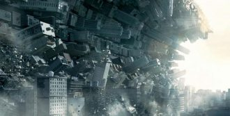 Buildings/dream in state of collapse, via Inception (2010), August 5, 2016. (http://www.cinemablend.com).