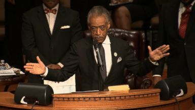 Rev. Al Sharpton delivering eulogy at Michael Brown funeral,