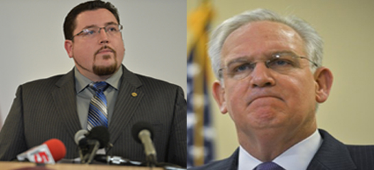 Ferguson Mayor James Knowles III and Missouri Gov. Jay Nixon, cropped and resized. (Donald Earl Collins, via Getty Images and http://washingtonpost.com).