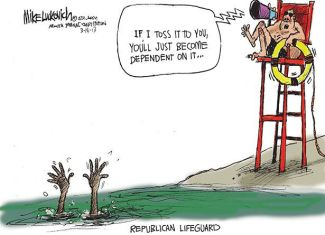 Sink or Swim Republican Lifeguard Cartoon, Mike Luckovich, March 14, 2013. (Luckovich/Atlanta Journal-Constitution; http://luckovich.blog.ajc.com).