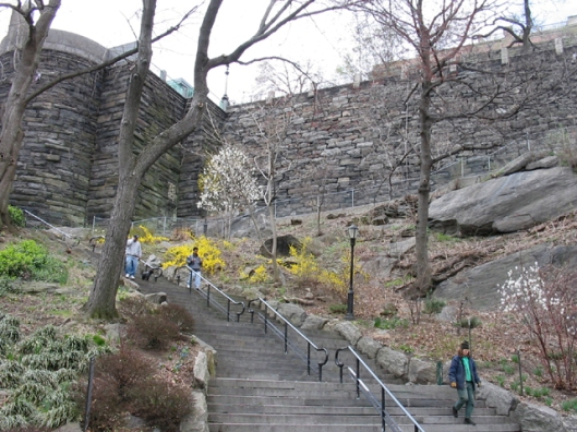 The long wall that separates Morningside Park (and Harlem) from Columbia University, New York, circa 2008. (http://Biking-in-Manhattan.com).